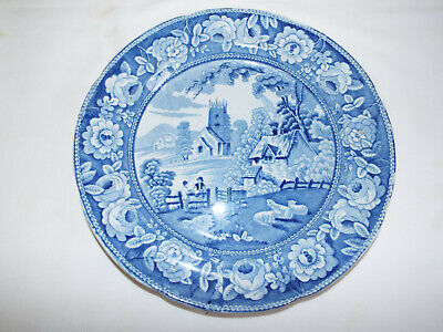 Antique Late Georgian Blue Printed Village Church Pattern Pearlware Plate. . • 9.99£