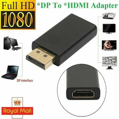 Display Port DP Male To HDMI Female Flat Adapter Connector Converter For HDTV PC • 2.99£