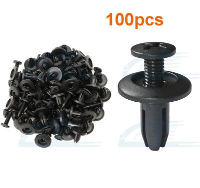 $5.99 • Buy 100 Pcs Black Auto Car Door Fender 6mm Hole Push Plastic Rivets Retainer Clips