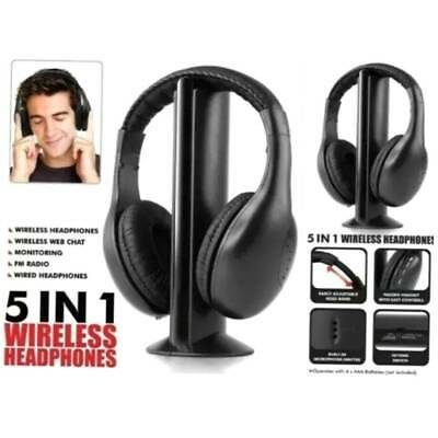 5 IN 1 Headset Wireless Cordless Headphones With Mic For PC TV Radio Skype NEW • 15.48£