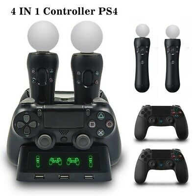 AU21.99 • Buy 4 In1 Charging Charger Dock Stand Station For PS4 PS VR Move Controller Holder