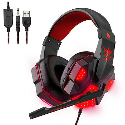 Fit For Sony PS4 Switch Game Console 3.5mm Gaming MIC LED PC Laptop Headphones • 5.09£
