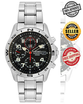 $ CDN159.99 • Buy Seiko Chronograph SND387 SND387P1 Men's Black Dial Steel 100m Quartz Watch