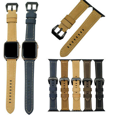 Vintage Genuine Leather Wrist Band Strap For Apple Watch IWatch Series 6/5/4/3/2 • 7.89£