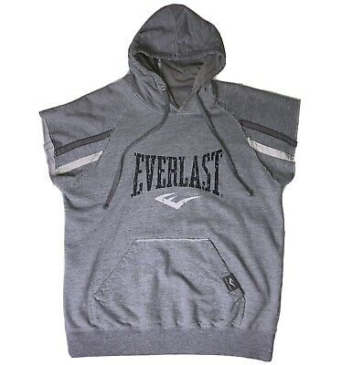 $14.89 • Buy Everlast Sleeveless Hoodie Gym Workout Pullover Mens Large Gray Boxing Retro