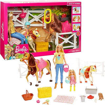 Barbie FXH15 Hugs & Horses Playset & Dolls 15+ Pieces Accessories New Kids Toy • 53.99£