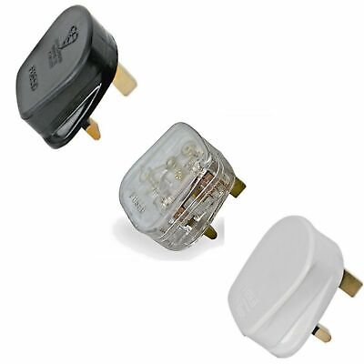 3A 5A 10A 13A Mains Power Rewireable UK 3 Pin FUSED Plug BLACK WHITE TRANSPARENT • 2.98£
