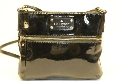 $ CDN10.05 • Buy Kate Spade New York Petite Black Patent Leather Zip Top Crossbody Shoulder Bag