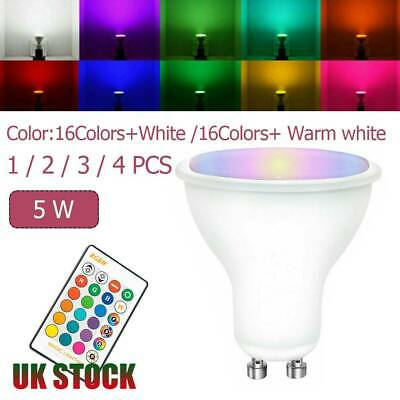 1/2/3/4X 5W GU10 LED Bulbs Light RGB 16 Colour Changing Spot Light Lamp With RC • 11.89£