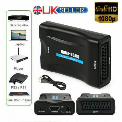 1080P HDMI To SCART Adapter Video Audio Converter USB Cable TV DVD PS3 SkyBox UK • 7.09£