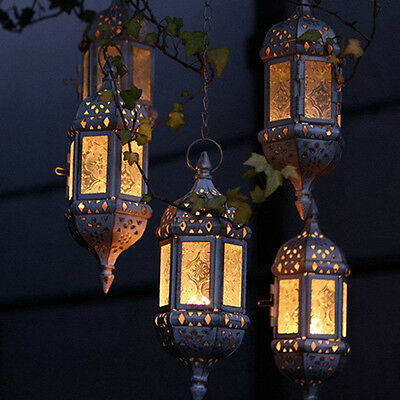 £11.99 • Buy Moroccan Hanging Candle Lantern Retro Hollow Metal Glass Candle Holder Home Deco