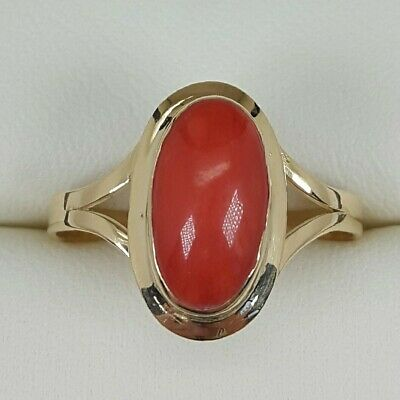 Coral Ring In 18ct Yellow Gold Finger Size P • 225£