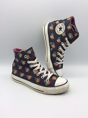 Converse All Star Rainbow Heart Pride Blue Canvas Trainers Uk Size 5 Rare • 39.99£