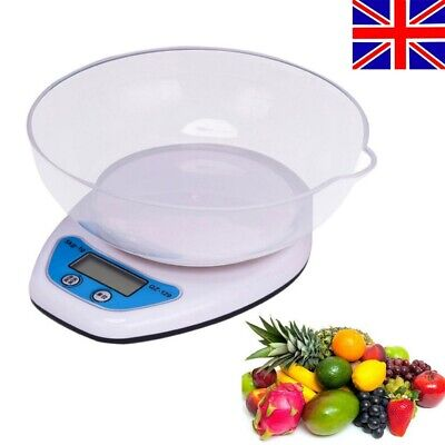 Portable 5KG Digital Kitchen Scales LCD Electronic Cooking Food Measuring Bowl • 7.99£