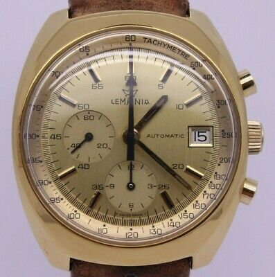 $ CDN580.01 • Buy VINTAGE 1970's Lemania Mens 38mm Automatic Chronograph Watch Gold Plated C.1341