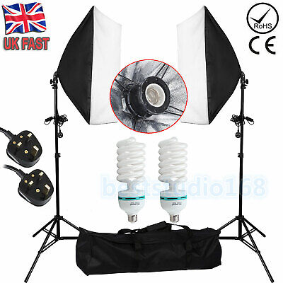 2x135W Photography Softbox Studio Continuous Video Lighting Soft Box Stand Kit • 39.99£