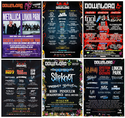 DOWNLOAD FESTIVAL 2003-2020 Music Concert Artist Band Print/poster A4/A3 • 8.50£