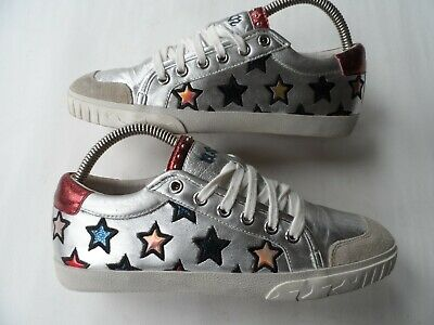 Ash Majestic Star Motif Trainers In Silver Leather-sz 5 Uk/38 Eu/7.5us Excellent • 12.48£