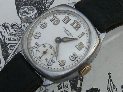 J.W. Benson London Triple Signed Deco 20s Cushion Trench Watch Military Dial VGC • 235£