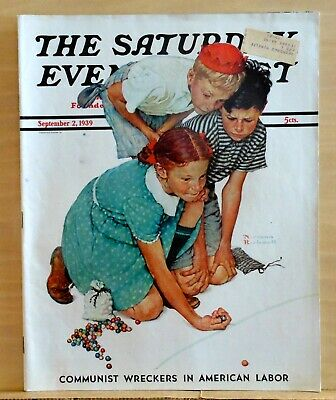 $ CDN53.56 • Buy Saturday Evening Post - September 2, 1939 - Norman Rockwell Cover - Rex Stout