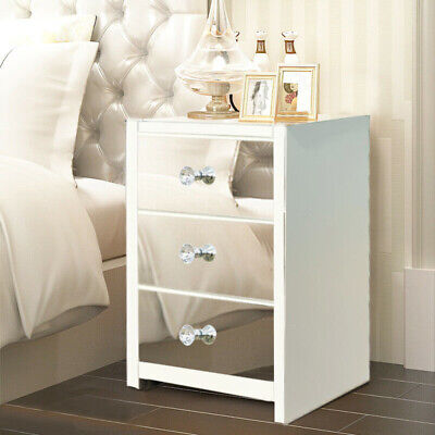 £78.99 • Buy Glass Mirrored Furniture Bedside Cabinet Table Storage Bedroom With 2/3 Drawers