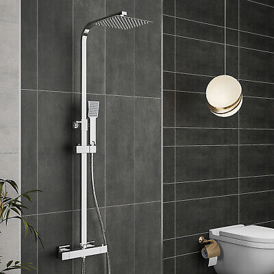 £65.15 • Buy Bathroom Thermostatic Exposed Shower Mixer Twin Head Large Square Bar Set Chrome