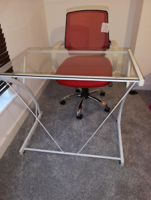 £59.58 • Buy Small Computer Desk Modern Glass Furniture Office Writing Study Table Metal PC