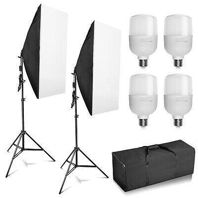 Photography Studio LED 100W Softbox Continuous Lighting Stand Kit Photo Video • 39.99£