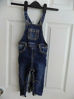 F&F Blue Fade Denim Dungarees 12-18 Months Grey Jersey Linings Under Fastening  • 1.99£