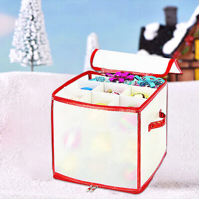 Christmas Tree Baubles Storage Box Ornament Xmas Bag Up To 64 Large Balls • 10.59£