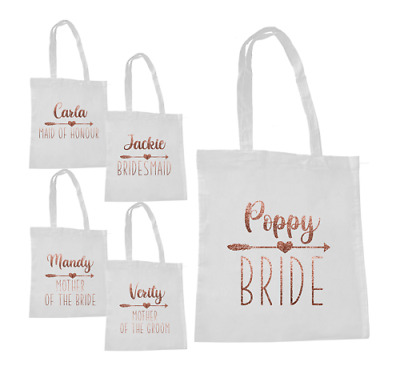 £7.99 • Buy Personalised Wedding Hen Party Tote Bag Bridal Gift Favour Rose Gold Glitter