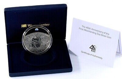 2009  5oz Fine Silver Proof 40th Anniversary Of The Moon Landings Coin BOX + COA • 184.95£