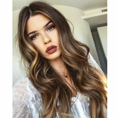 £11.69 • Buy Vogue Lady Long Wavy Ombre Wigs Heat Resistant Full Brown Hair Cosplay Party