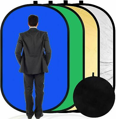 Collapsible Background Reflector Panel Cotton Muslin Blue Green Backdrop 4 In 1 • 33.29£