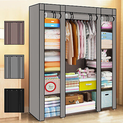 Large Canvas Fabric Wardrobe With Hanging Rail Shelving Clothes Storage Cupboard • 18.98£