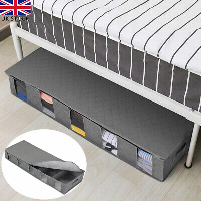 Large Under Bed Storage Bag Box 5 Compartments Clothes Shoes Organizer Case UK • 8.28£