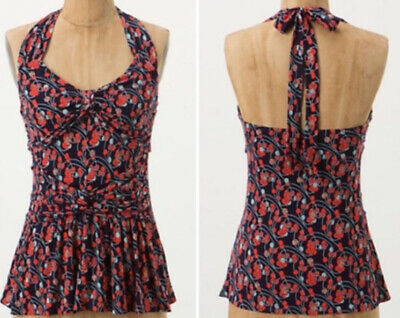 $ CDN5.26 • Buy Ric Rac Anthropologie Colorful Floral Cherry Jersey Knit Halter Tank Top S