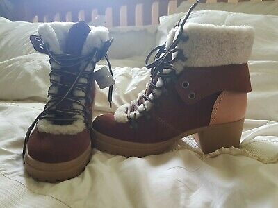 See By Chloe Suede Hiking Boots Size 7 Sheepskin Lined New Rrp £349 • 100£