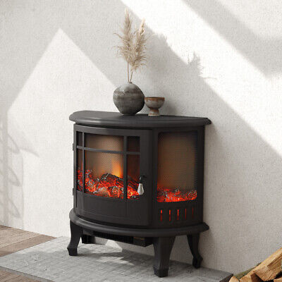 Vintage Electric Fireplace Heater Log Burning Flame Indoor Fire Stove Dual Modes • 139.95£