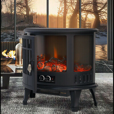 Burning Electric Fireplace Log Flame Effect Stove Fire Heater Thermal Wood 1800W • 139.95£