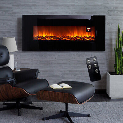 LED 50/34/30 Inch Mounted Electric Fireplace Black Wall/Insert Stand Fire Stove • 249.95£