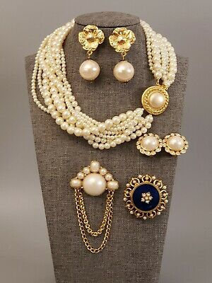 $ CDN15.16 • Buy All Signed Vintage Lot Necklace Brooches Earrings CAROLEE FLORENZA RHICHELIU