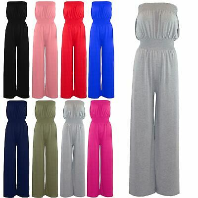 Womens Ladies Flare Wide Leg Palazzo Sheering Boobtube Bandeau Playsuit Jumpsuit • 2.52£