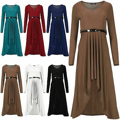 Ladies Womens Long Sleeve Belted Round Neck Plain High Low Flared Maxi Dress • 3.55£