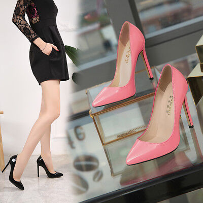 £19.99 • Buy Ladies High Heels Pumps Patent Leather Shoes Pointed Toe Stiletto Shoes