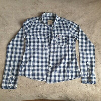 Hollister Womens Blue And White Checked Shirt Size Medium • 3£