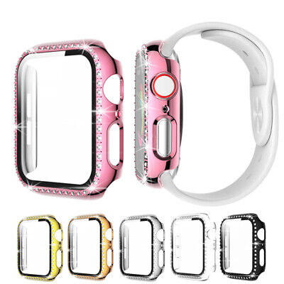 $ CDN5.80 • Buy Diamond Bling Case With Tempered Glass Film For Apple Watch Series 6 5 4 3 2 SE