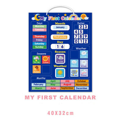 My First Magnetic Calendar – Blue-Rigid Board 40 X 32cm With Hanging Loop • 15.99£