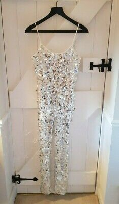 Missguided Sequin Disco Jumpsuit Silver - Used In Excellent Condition - Size 8  • 6£