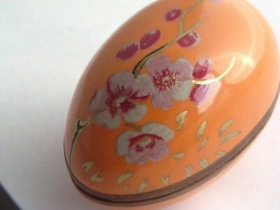 Beautiful Art Deco Egg Shaped Hand Painted Jewellery Box With Japanese Orchids • 22£